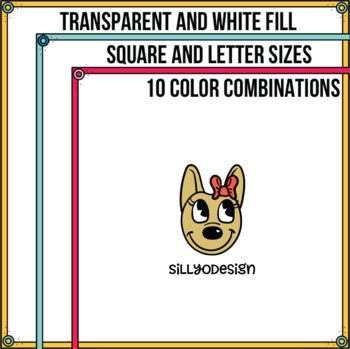 Skinny Borders: Corner Circles  (Letter & Square Clip Art) Thin Borders