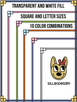 Skinny Borders: Cube Frames  (Letter & Square Clip Art)