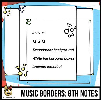 Music Note Borders (Letter, Square, & Clip Art Accents)