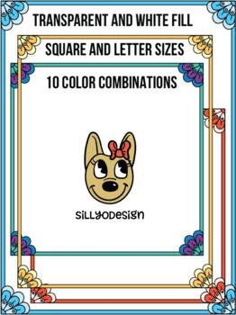 Skinny Borders: Pretty Petals  (Letter & Square Clip Art)