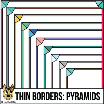 Skinny Borders: Pyramid Frames  (Letter & Square Clip Art)