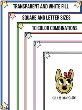 Skinny Borders: Star Frames  (Letter & Square Clip Art)