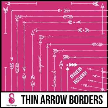 Skinny Borders: White Arrow Doodles (Letter, Square, Dividers)