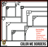 Skinny Borders for Coloring (Letter & Square Clip Art)