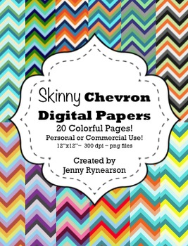 Skinny Colorful Chevron Digital Papers! Personal/Commercia