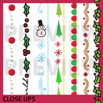 Skinny Christmas Borders & Frames by Prime and Pi | TpT