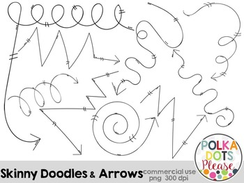 Skinny Doodles and Arrows {Graphics for Commercial Use}
