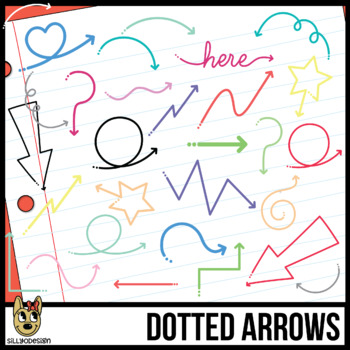 Skinny Dotted Arrows, 16 Colors