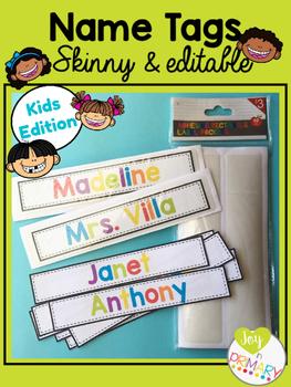 Editable Skinny Name Tags - Kids Edition