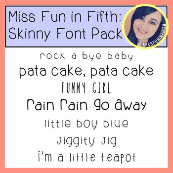 Skinny Font Pack by Miss Fun in Fifth