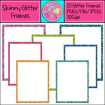 Skinny Glitter Frames Clip Art CU OK