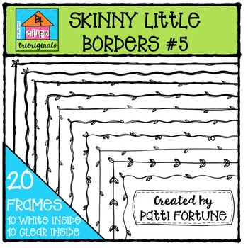 Skinny Little Borders #5 Leaves {P4 Clips Trioriginals Digital Clip Art}