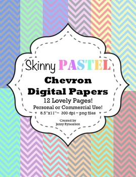 Skinny PASTEL Chevron Digital Papers! Personal & Commercial Use! Easy Terms!