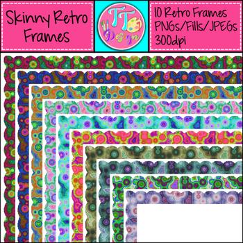 Skinny Retro Frames Clip Art CU OK