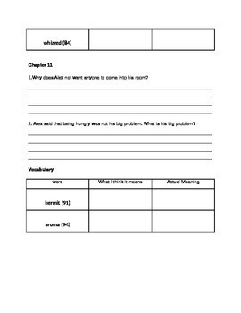 Skinnybones Comprehension Questions and Vocabulary Guide
