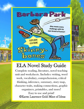 Skinnybones by Barbara Parks ELA Novel Reading Study Guide