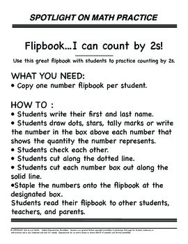 Math Skip Counting By 2 Flip book