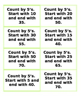Skip Count Game Cards