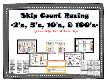 Skip Count Racing - 2's, 5's, 10's, and 100's Skip Counting Activities