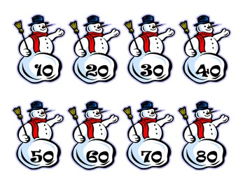 Skip Count Snowmen (2's, 5's, and 10's)
