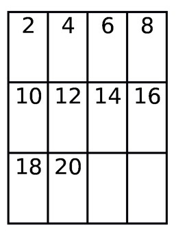 Skip Count by 2 Card Game