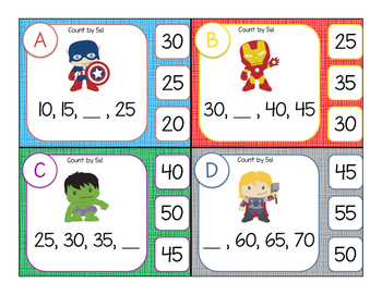 Skip Count by 2s 5s 10s - Clip Cards