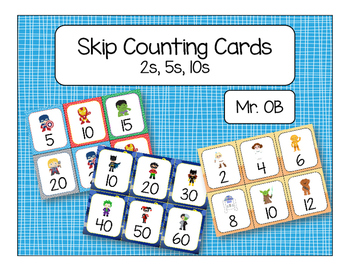 Skip Count by 2s 5s 10s - Display Cards
