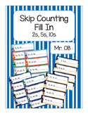 Skip Count by 2s 5s 10s - Number Line Fill In