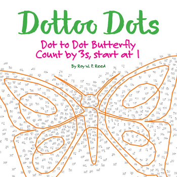 Skip Count by 3s, Starting at 1, Dot to Dot Spring Butterfly Math Activity