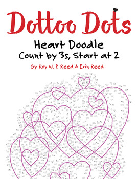 Skip Count by 3s, Starting at 2, Dot to Dot Heart Doodle, Math Activity