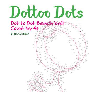 Skip Count by 4s, Dot to Dot Summer Beach Ball Math Activity