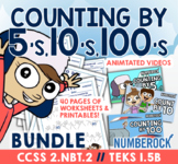 Skip Count by 5, 10, & 100 Within 1000 ★ Fun 2.NBT.2 Activities ★ TEKS 1.5B