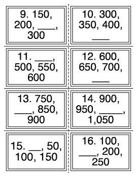 Skip Count by 50 Task Cards