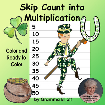 Skip Count to Learn Multiplication for St. Patrick's Day Math in Color and BW