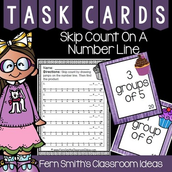 3rd Grade Go Math Chapter Three 3.3 Skip Count on a Number Line Task Cards