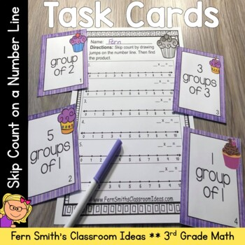 3rd Grade Go Math 3.3 Skip Count on a Number Line Task Cards