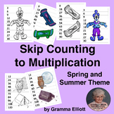 Skip Count to Learn Multiplication - Spring and Summer Theme in Color and BW