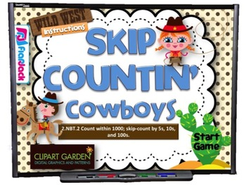 Skip Countin' Cowboys Smart Board Game (CCSS.2.NBT.2)