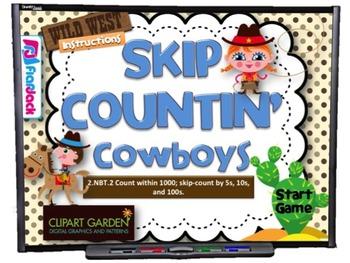 Skip Countin' Cowboys Smart Board Game (CCSS.2.NBT.2)