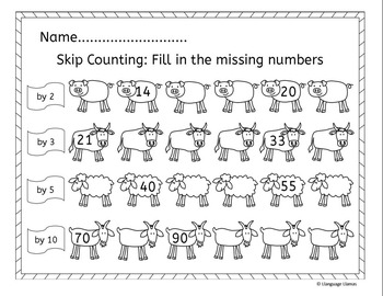 farm skip counting by 2s 3s 5s 10s farm math activities tpt. Black Bedroom Furniture Sets. Home Design Ideas