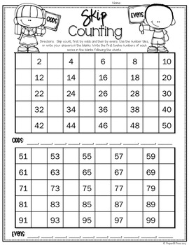 SKIP COUNTING (with Numbers 2-12) Plus Odds/Evens; Number Sense
