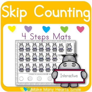 Skip Counting: 4 Steps Hippo Mats