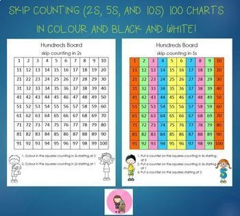 Skip Counting (2s, 5s and 10s) 100 chart (colour and black/white)