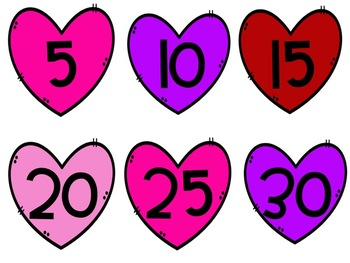 Skip Counting 5's, 10's, 100's Valentine Themed