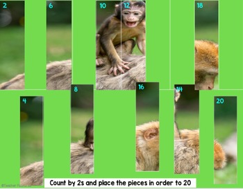 Google Classroom Math Skip Counting by 2s, 5s & 10s (Animal Puzzles)