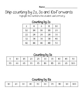 Skip Counting Assessment-2s, 5s and 10s