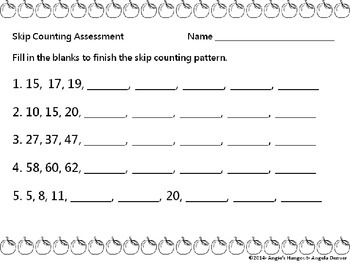 Skip Counting Assessment for 2nd Grade