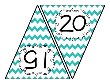 Skip Counting Bunting Decor: Turquoise Chevron