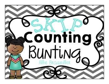 Skip Counting Bunting Decor: Turquoise Chevron