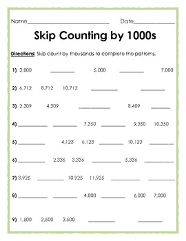 Skip Counting By 1,000 (One Thousand) by The Teacher Treasury ...